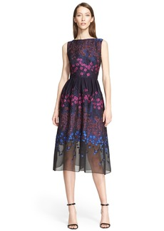 Lela Rose Floral Fil Coupé Fit & Flare Dress