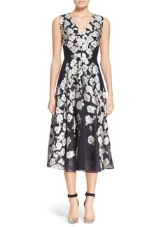 Lela Rose Floral Fil Coupé Midi Dress