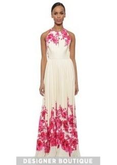 Lela Rose Floral Halter Gown
