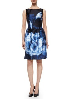 Lela Rose Floral Ikat-Print Bell-Skirt Dress  Floral Ikat-Print Bell-Skirt Dress