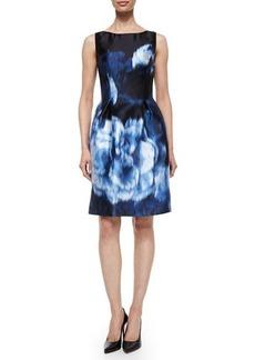Lela Rose Floral Ikat-Print Bell-Skirt Dress  Floral Ikat-Print Bell-Skirt Dress