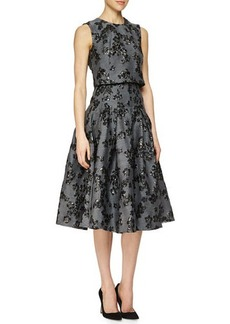 Lela Rose Floral-Jacquard Full-Skirt Dress  Floral-Jacquard Full-Skirt Dress