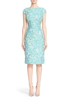 Lela Rose Floral Jacquard Sheath Dress