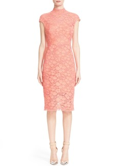 Lela Rose Floral Lace Cap Sleeve Sheath Dress