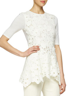 Lela Rose Floral Lace Peplum Layered Top  Floral Lace Peplum Layered Top