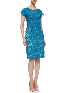 Lela Rose Floral-Lace Sheath Dress