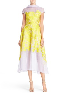Lela Rose Floral Organza V-Back Dress