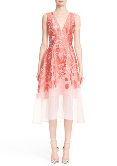 Lela Rose Floral Organza V-Neck Dress