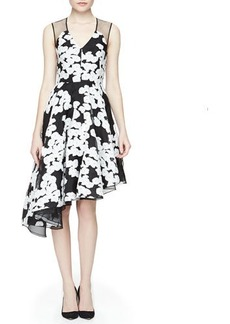 Lela Rose Floral-Print Asymmetric Ruffled Dress, Black/Ivory