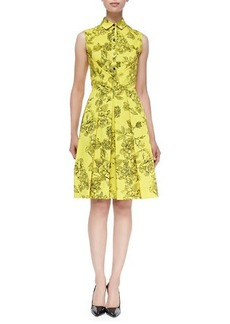 Lela Rose Floral-Print Button-Up Shirtdress, Citrine