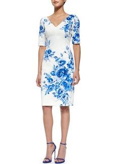 Lela Rose Floral-Print Elbow-Sleeve Sheath Dress