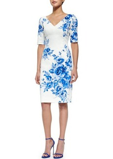 Lela Rose Floral-Print Elbow-Sleeve Sheath Dress
