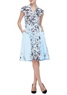 Lela Rose Floral-Print Flared Shirtdress