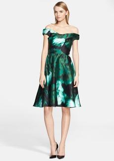 Lela Rose Floral Print Off the Shoulder Satin Fit & Flare Dress