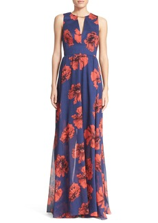 Lela Rose Floral Print Open Back Gown