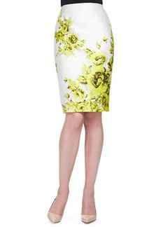 Lela Rose Floral-Print Sateen Pencil Skirt