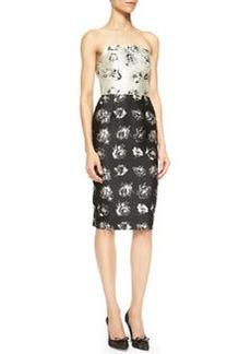 Lela Rose Floral-Print Strapless Flounce-Back Dress