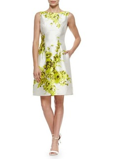 Lela Rose Floral-Print Taffeta Sheath Dress