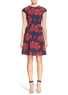 Lela Rose Floral Print Stretch Jacquard Fit & Flare Dress