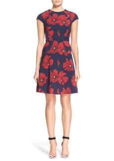 Lela Rose Floral PrintStretch Jacquard Fit & Flare Dress