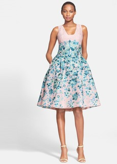 Lela Rose Flower Jacquard A-Line Dress