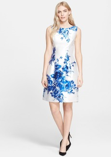 Lela Rose Flower Print Full Skirt Satin Sheath Dress