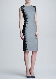 Lela Rose Flutter-Lace Sheath Dress
