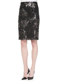 Lela Rose Foiled Lace Straight Skirt