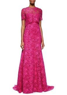 Lela Rose Fringe-Lace Overlay Gown, Pink