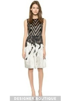 Lela Rose Fringed Skirt Dress