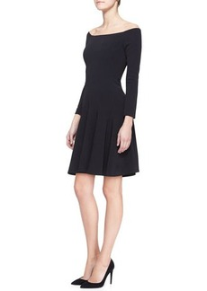 Lela Rose Full Off-Shoulder Jersey Dress