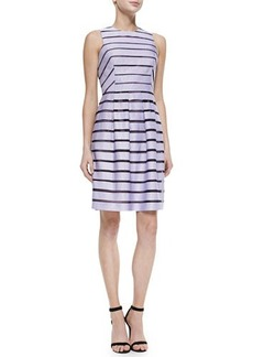 Lela Rose Full-Skirted Striped Dress, Lavender