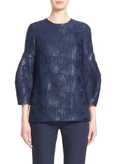 Lela Rose Full Sleeve Shimmer Cotton Blend Blouse