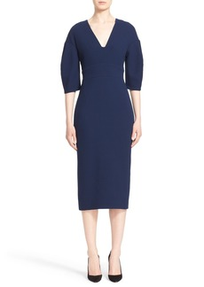 Lela Rose Full Sleeve Stretch Wool Crepe Dress