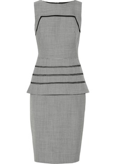 Lela Rose Gingham wool peplum dress