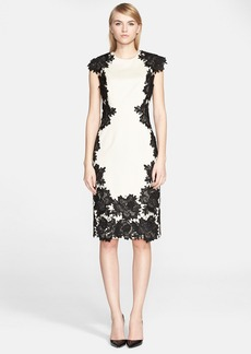 Lela Rose Guipure Lace Appliqué Sheath Dress