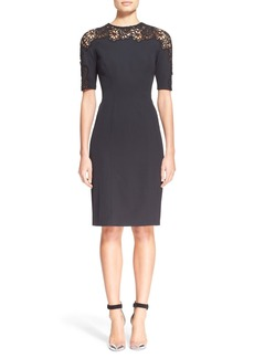 Lela Rose Guipure Floral Lace Inset Sheath Dress
