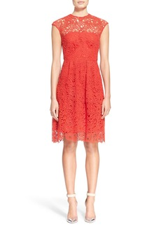 Lela Rose Guipure Floral Lace Fit & Flare Dress