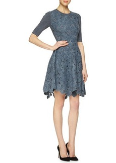 Lela Rose Half-Sleeve Floral-Lace Combo Dress  Half-Sleeve Floral-Lace Combo Dress