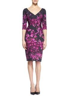 Lela Rose Half-Sleeve Floral-Print Dress, Magenta/Black