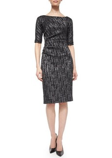 Lela Rose Half-Sleeve Side-Ruch Sheath Dress