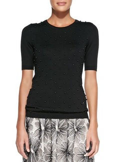 Lela Rose Half-Sleeve Sweater W/ Beaded Front