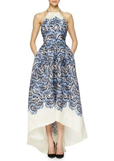 Lela Rose Halter Feather-Print High-Low Gown  Halter Feather-Print High-Low Gown