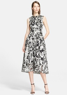 Lela Rose Ikat Fil Coupé Fit & Flare Midi Dress