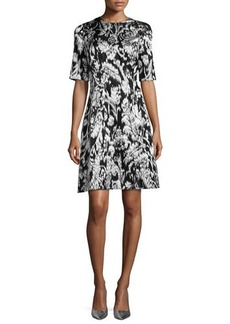 Lela Rose Ikat Fil Coupe Half-Sleeve Dress