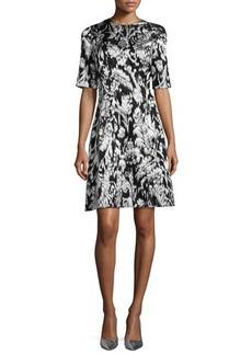 Lela Rose Ikat Fil Coupe Half-Sleeve Dress