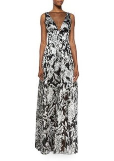 Lela Rose Ikat Fil Coupe V-Neck Gown