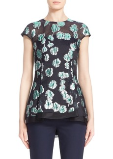 Lela Rose Illusion Yoke Floral Fil Coupé Blouse