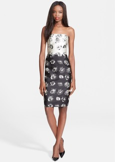 Lela Rose Illustrated Flower Print Strapless Satin Dress