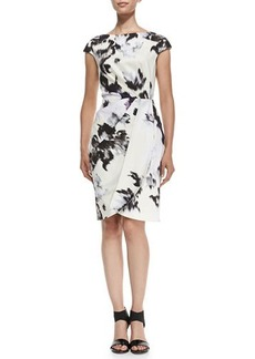 Lela Rose Inkblot-Print Cap-Sleeve Sheath Dress
